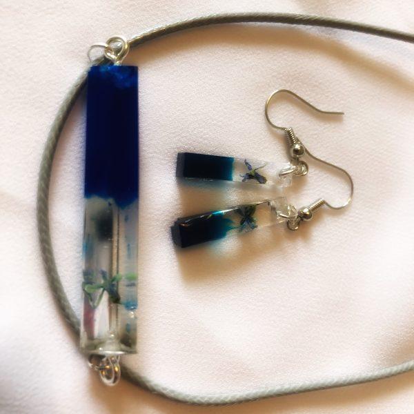 Epoxidharz Schmuck Set Kette und Ohrringe blau mit Blüten